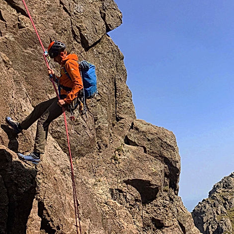 Abseiling into Jordan Gap - Pillar Rock