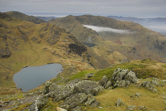 Low water and Wetherlam from Coniston Ol