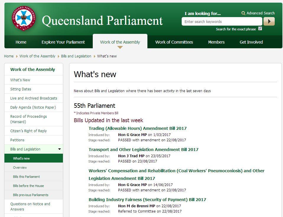 Bills Updated in Queensland Parliament in the last week