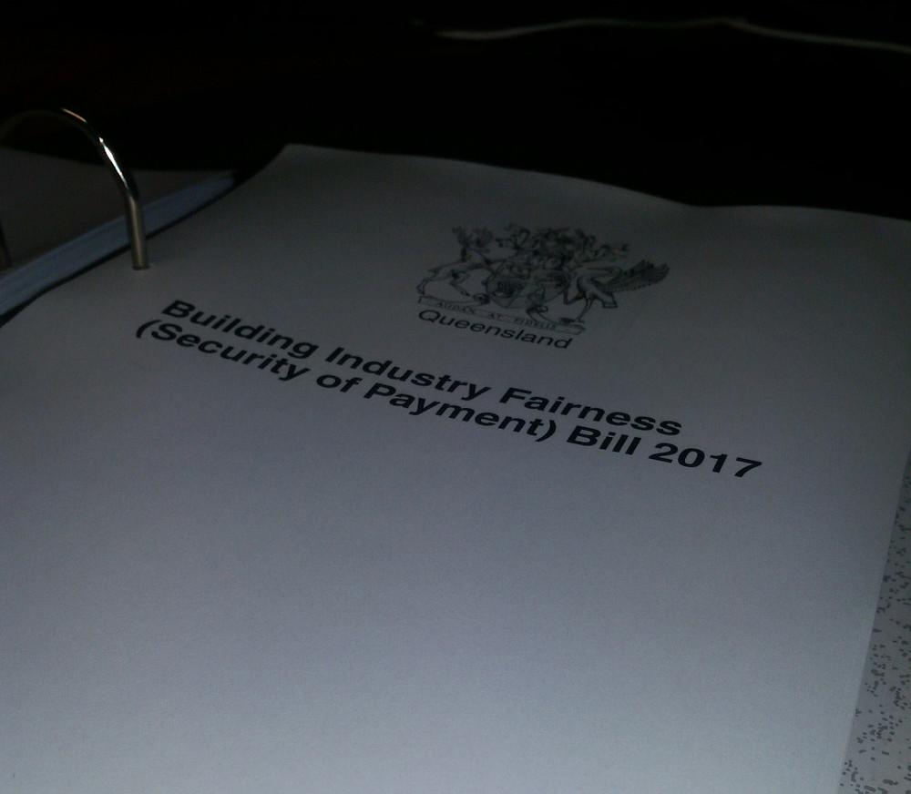 Building Industry Fairness (Security if Payment) Bill 2017 Queensland