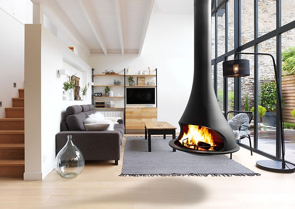 gas hanging fireplace
