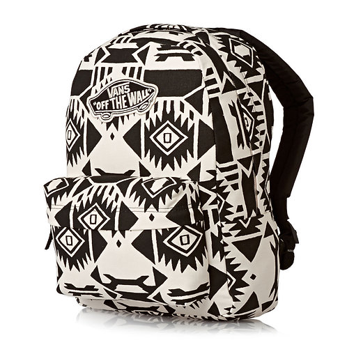 Vans Backpacks - Vans Realm Backpack - White Sand/Black  Женский черно-белый рюкзак от Vans