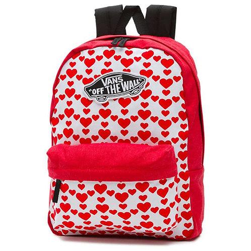 Vans Backpack – Realm Backpack Hearts red/white/black Женский рюкзак с сердечками Vans на каждый день.