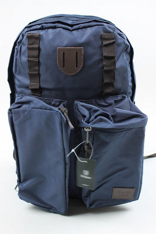 Brixton Mens Range Backpack Navy Brown Синий вместительный мужской рюкзак от модного бренда.