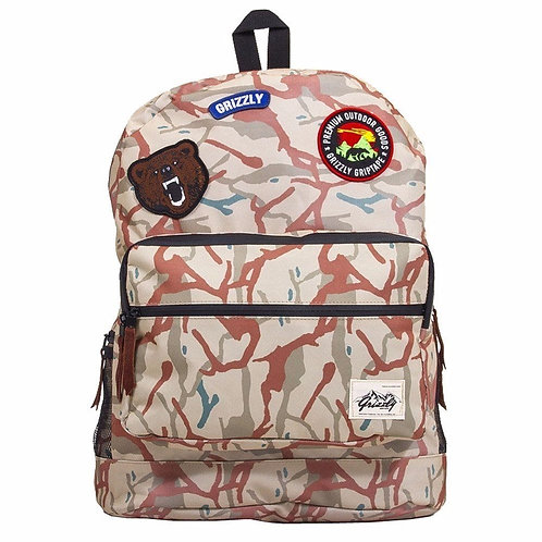 GRIZZLY GRIPTAPE SKATEBOARD OUTDOOR GOODS  Tan School Backpack Мужской подростковый модный рюкзак