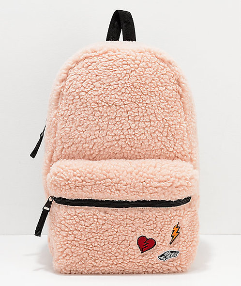 Vans Calico Sherpa Peach (mini) Backpack Мини женский рюкзачок персик от vans!