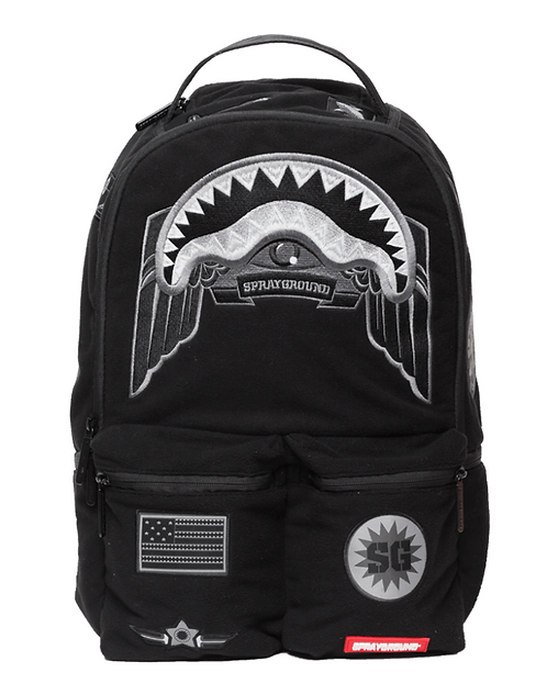 Sprayground Ghost Shark Army Patches Backpack Мужской агрессивный рюкзак армии США Черная акула!