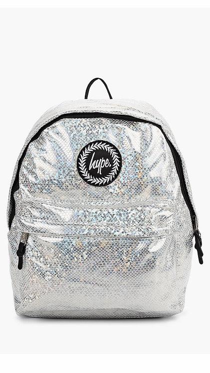 Hype Silver Holographic Python Backpack Женский серебристый рюкзак кожа питона