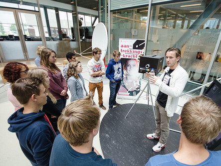 School pupils engaged in science at Science LinX exhibition