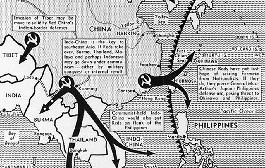 Map depicting the spread of communisim in Southeast Asia - A Classic Review