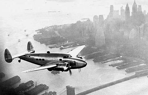 historical photo Lockheed plane, Manhattan background - A Classic Review