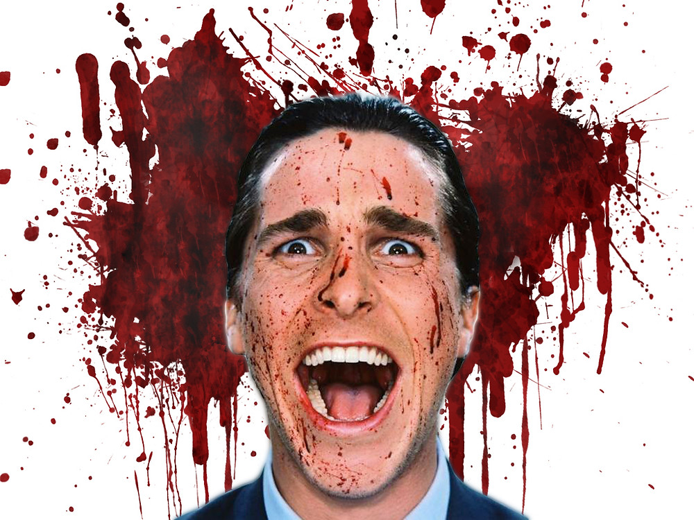 Patrick Bateman (Christian Bale), bloody wall - A Classic Review