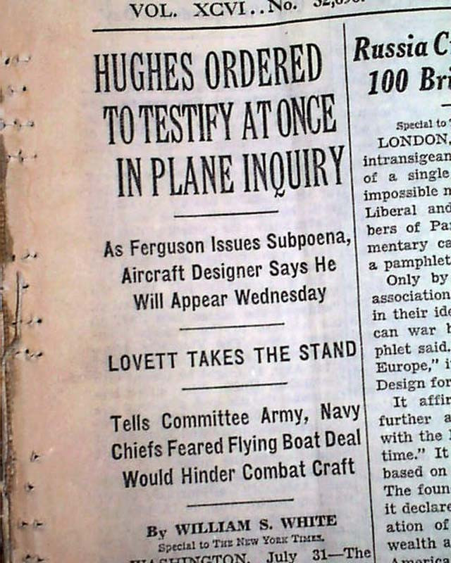 "historical newspaper cover, ""Huhes Ordered...."" - A Classic Review"