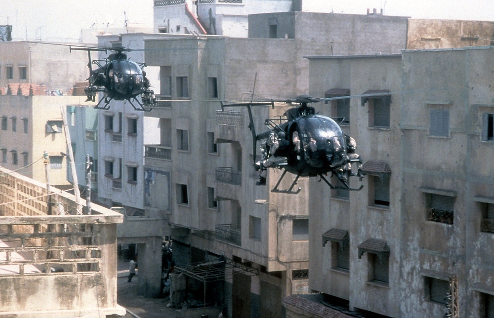 helicopers, downtown Mogadishu - A Classic Review
