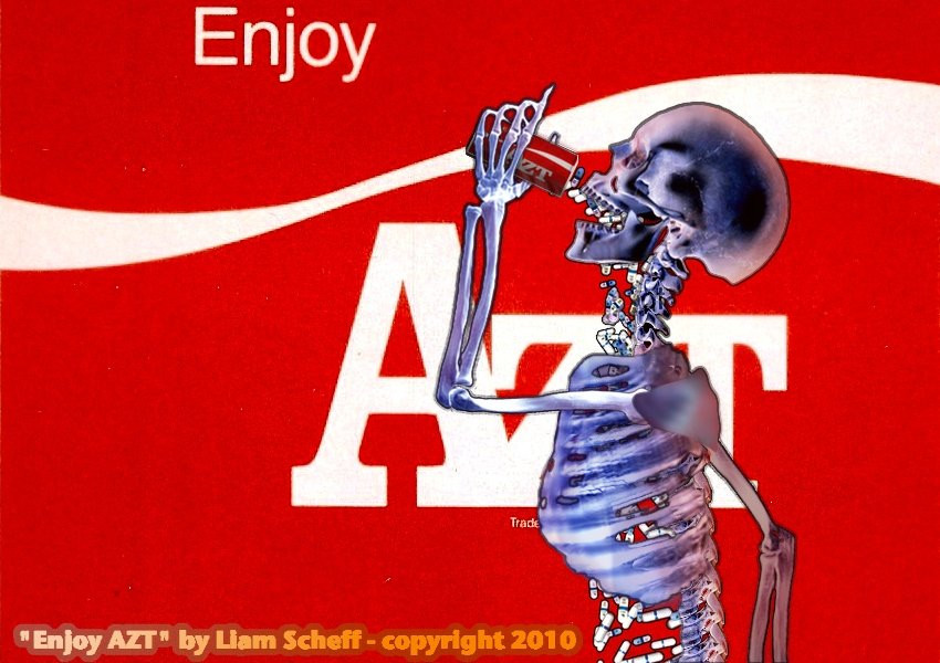 red ENJOY AZT poster with skeleton - A Classic Review