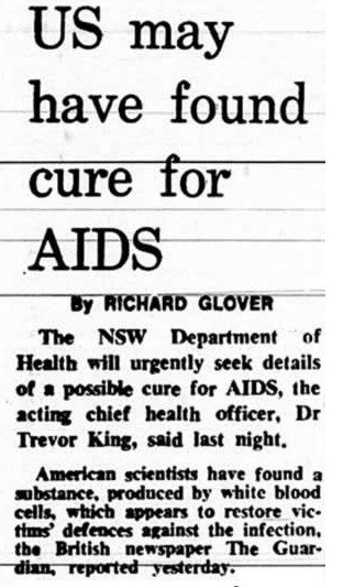 Newspaper text, US may have found cure for AIDS - A Classic Review