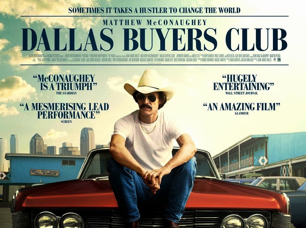 Dallas Buyers Club poster, Matthew McConaughey on hood of car - A Classic Review