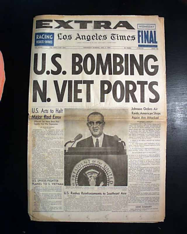 "LA Times cover, ""U.S. Bombing N. Viet Ports"" - A Classic Review"