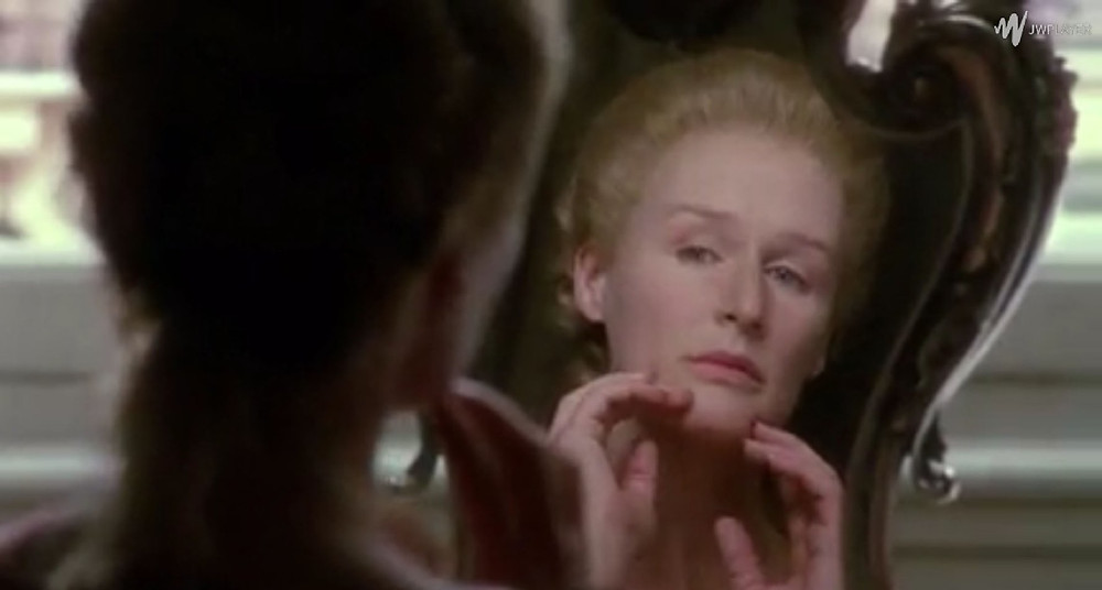 Marquise de Merteuil (Glenn Close) examines mirror - A Classic Review