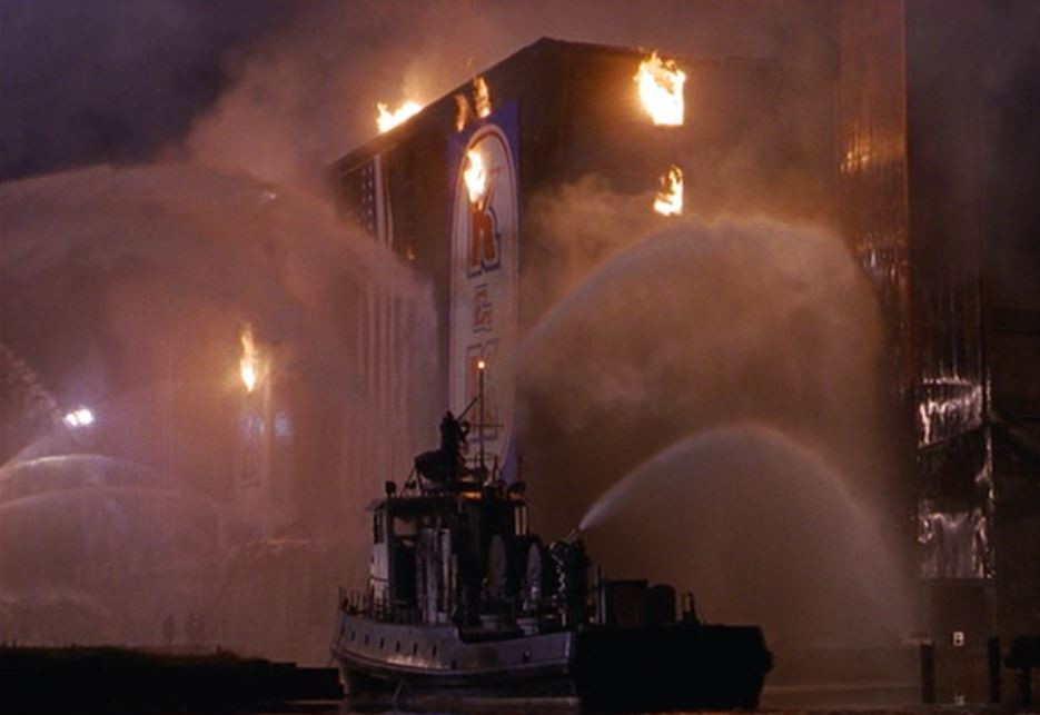 fireboat hosing down burning building - A Classic Review