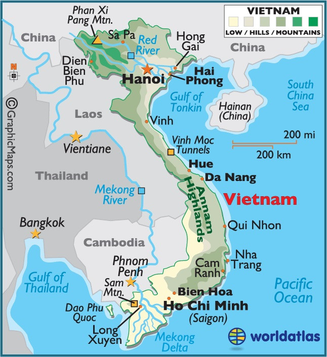Viet Nam, map - A Classic Review