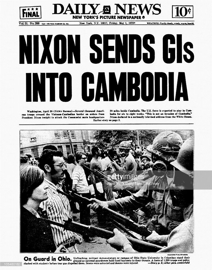 "Dailey News cover, ""Nixon Sends GIs into Cambodia - A Classic Review"