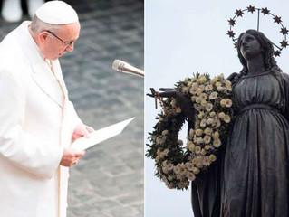 Esta é a oração que o Papa Francisco rezou ante o monumento da Imaculada em Roma