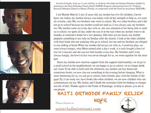 A reminder of our Haiti Mission and the Haiti Orthodox Family Relief Program (HOFR)