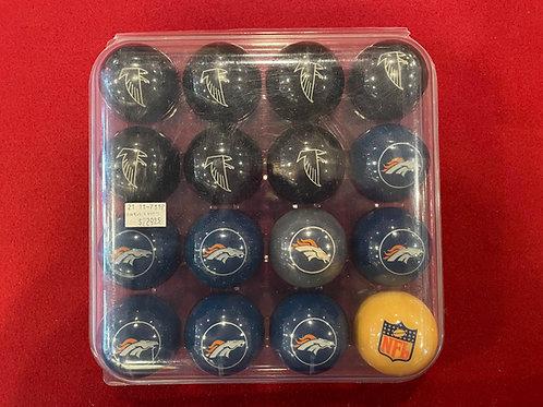 Broncos and Falcons Pool Balls