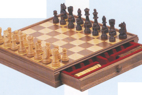 Classic Wooden Chess & Checker Set