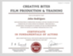 Certificate in Fundamentals of Film Acting