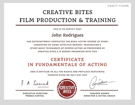 Certificate in Fundamentals of Film Acting