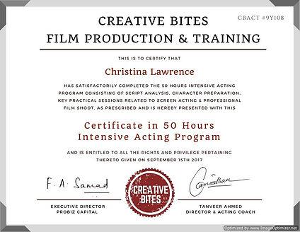 Certificate in 50 Hours Intensive Acting Program