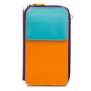 multi colour purse with zip and strap