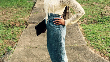 Clutch Stick, Denim, & Pearls