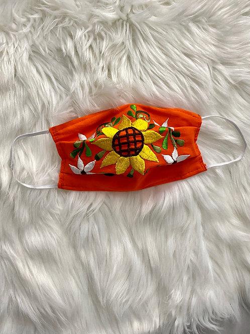 Orange face mask (FLORAL)