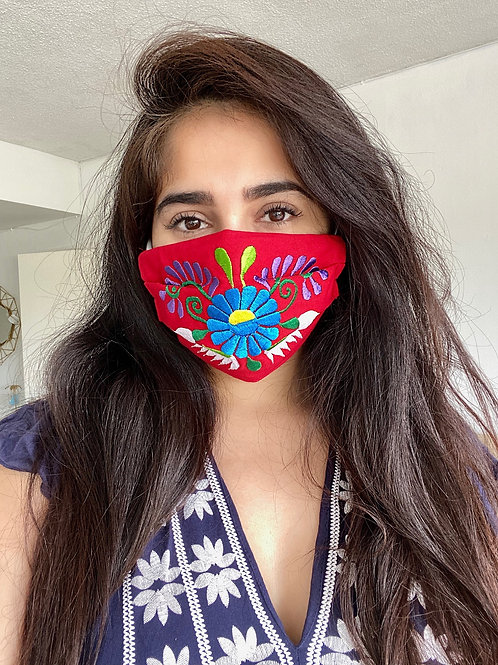 Red Floral Face Mask