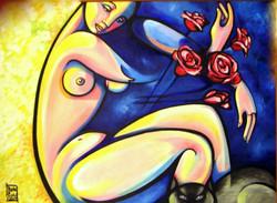 mujer con rosas y gato.jpg 1999