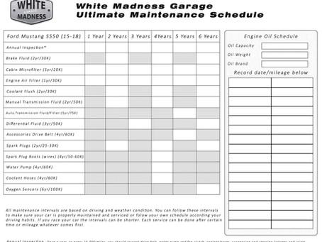 White Madness Garage - Ultimate Maintenance Schedule