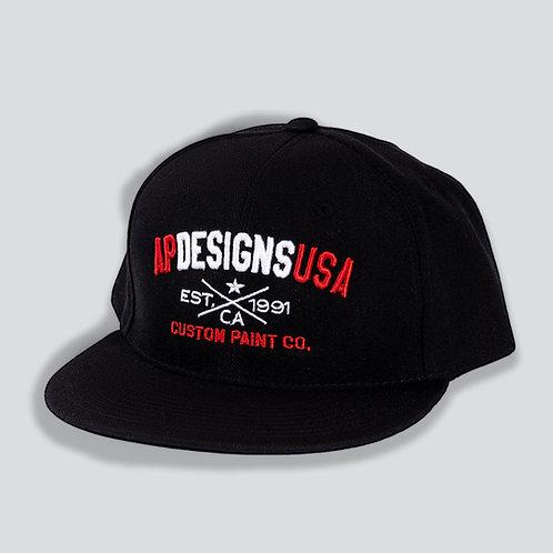 AP Designs Black Snapback Hat Red