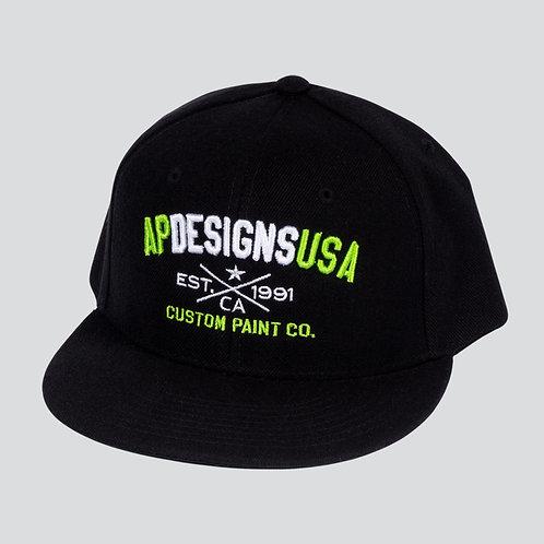 AP Designs Black Snapback Hat Green