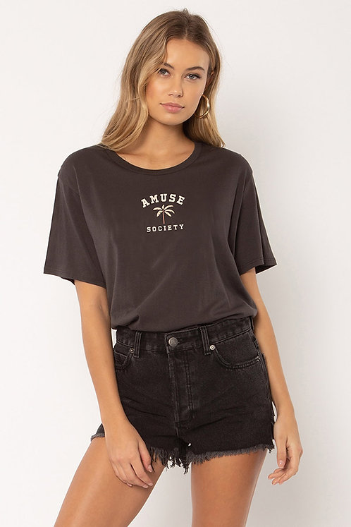 AMUSE SOCIETY | Oasis Knit Tee | Charcoal