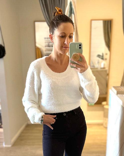 Tegan Crop Knit Top | White