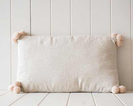Linen Pompom Cushion | Natural and Cream