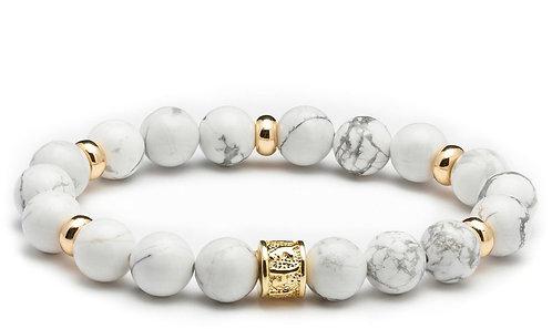 HEADLESS NATION | Howlite White & Gold Bracelet