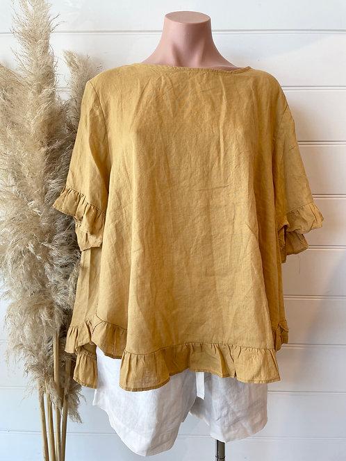 The Pia Linen Top | Mustard