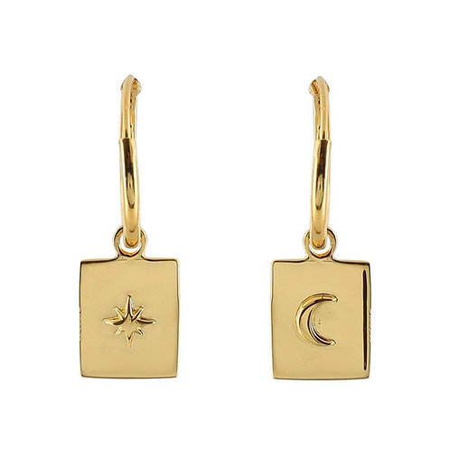 MIDSUMMER STAR | Gold Celestial Medallion Sleepers