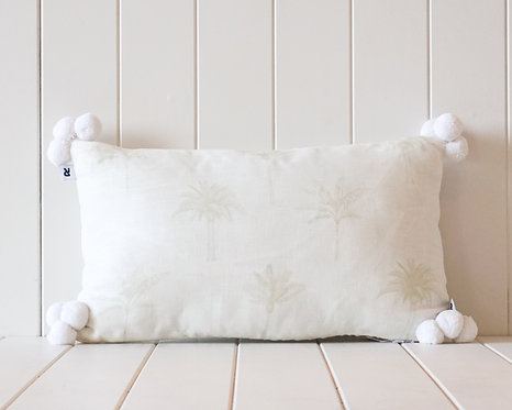 Linen Pompom Cushion | White and White with Light Sage Palm Print