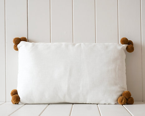 Linen Pompom Cushion | White and Brown