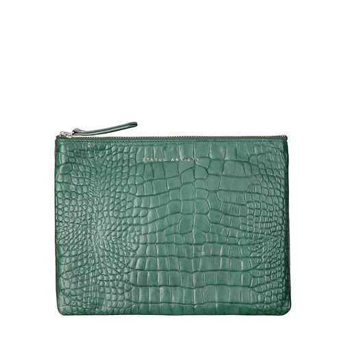 STATUS ANXIETY | Fake It Clutch | Teal Croc Emboss